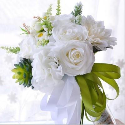 ブーケ 結婚式 ウェディングブーケ 造花 手作り キャンディーブーケ おじゃれ アレンジメント 花束 花嫁 造花花束 写真撮り 前撮 結婚祝い 海外挙式