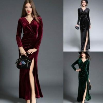 結婚 式 ドレス S-2L 5色 大きいサイズ ベロア キャバドレス 長袖 レディース 予約 パーティードレス 袖あり YL-MD-S3170 水商売 艶感 高