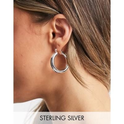 エイソス レディース ピアス・イヤリング アクセサリー ASOS DESIGN sterling silver plate hoop earrings in 35mm tube design