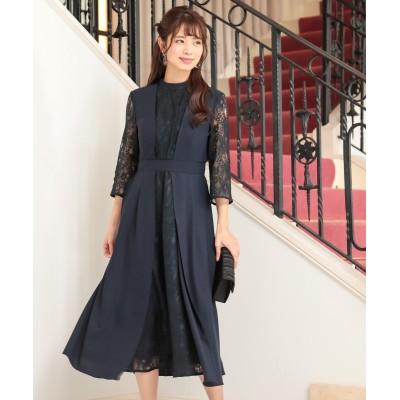 【結婚式。お呼ばれ。二次会】スタンドカラーフロントレースデザインワンピースドレス<大きいサイズ> ,スマイルランド, 【謝恩会・パーティドレス】Dress