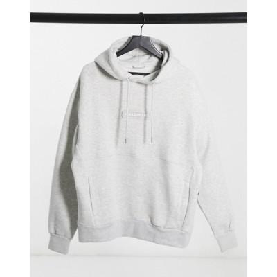プルアンドベアー メンズ パーカー・スウェット アウター Pull&Bear hoodie with rubberized logo in gray