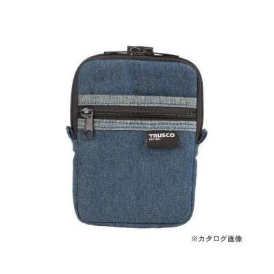 TRUSCO デニムコンパクトケース 2ポケット ブルー TDC-K101