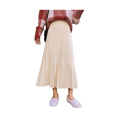 スカート レディース ニットスカート フレアースカート ロング ミモレ丈 Aライン 体型カバー ウエストゴム かわいい 秋冬