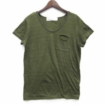 【中古】ミディウミ MidiUmi Tシャツ カットソー コットン 半袖 クルーネック 断ち切りポケット 杢カーキグリーン 緑 レディース