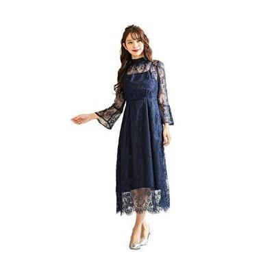 (ファッションレター)FashionLetter 襟ボウタイレースワンピースドレス 結婚式 成人式 同窓会 お呼ばれパーティードレス