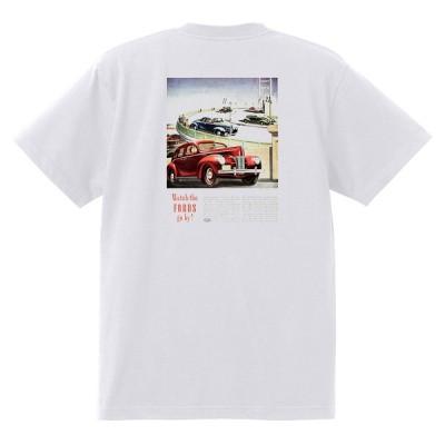 アドバタイジング フォード Tシャツ 白 1106 黒地へ変更可 1940 ホットロッド ローライダー ロカビリー アドバタイズメント レッドスレッド