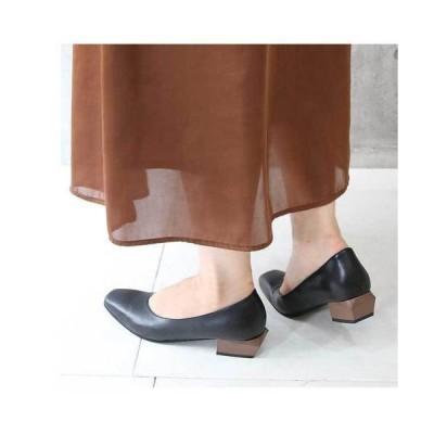 パンプス 【本革】変形ウッドヒールスクエアトゥパンプス(3.7cmヒール)
