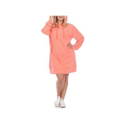 ホワイトマーク ワンピース トップス レディース Women's Plus Size Hoodie Sweatshirt Dress Orange