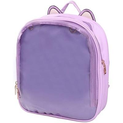 猫耳 痛バック リュック ネコ 透明 窓 ビニール リュックサック かばん bag(パープル)