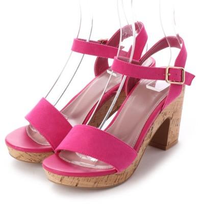 ランダ RANDA COTTON STEPS/ボリュームヒールサンダル (PINK)
