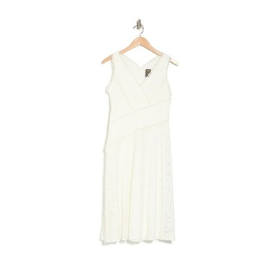 テイラー レディース ワンピース トップス Asymmetrical Midi Lace Dress IVORY
