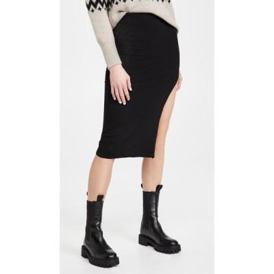 リネームド re:named レディース ひざ丈スカート スリットスカート スカート Janet Knit Slit Skirt Black