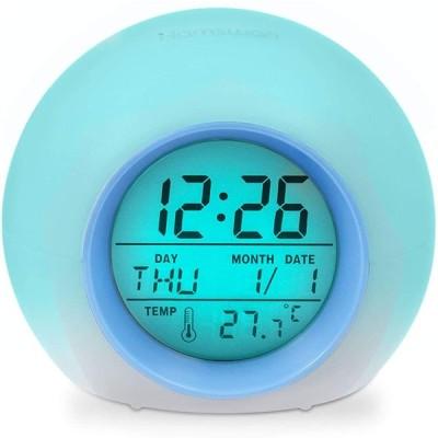 目覚まし時計 HAMSWAN デジタル時計 大音量 卓上 自然音 見やすい 丸いアラームクロック 目覚まし7色LEDライト アラームandスヌー ズ機