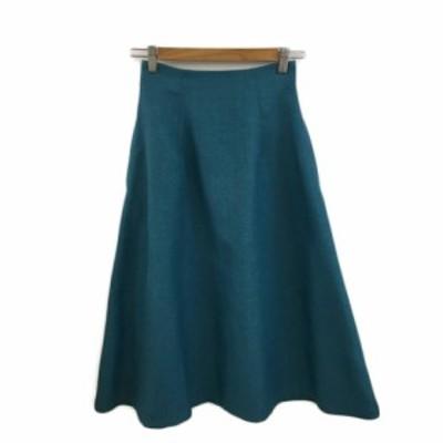 【中古】ナチュラルビューティーベーシック スカート フレア ロング タック 無地 XS 緑 青 グリーン ブルー