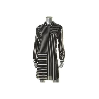 ディーケーエヌワイ ドレス ワンピース DKNY 7757 レディース B/W シルク ストライプ Knee-Length Wear to Work ドレス M BHFO