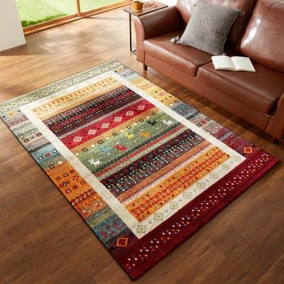トルコ製鮮やかな色合いが楽しいギャッベ風デザインウィルトン織りラグ