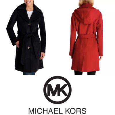 マイケルコース Michael Kors コート ウールコート フード付き ベルト付き ブラック レッド アイボリー レディース 取り寄せ