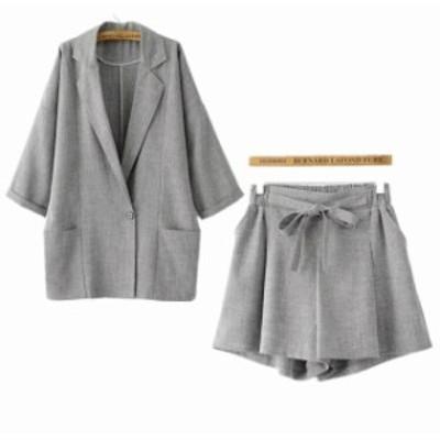 レディース セットアップ 長袖 ジャケット ワイドレッグ ショート パンツ ゆったり 無地 春夏 カジュアル フェミニン S M L