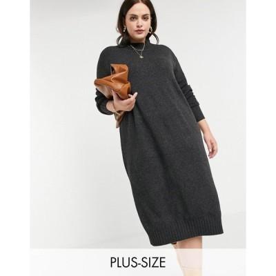 ミーヒャラウンジ ドレス 大きいサイズ レディース M Lounge Curve knitted midi dress with high neck エイソス ASOS グレー 灰色