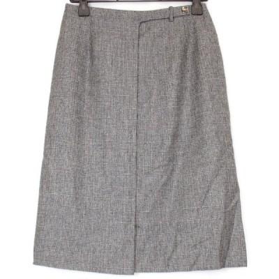 美品『USED』ラルフローレン グレンチェック 巻きスカート グレー サイズ7 スカート ウール レディース