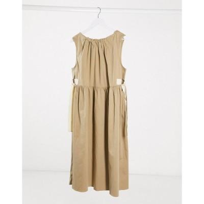 エイソス ミディドレス レディース ASOS DESIGN premium casual trapeze midi smock dress with grosgrain detail エイソス ASOS ベージュ