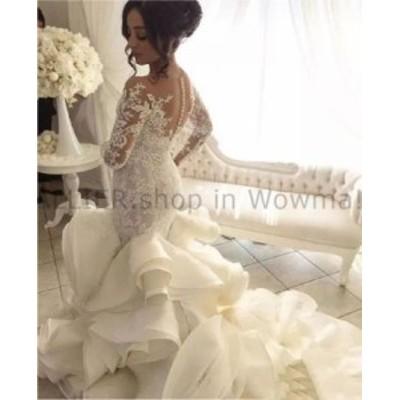 ウェディングドレス 豪華なセクシーなマーメイドのレース長袖フリルオーガンザのウェディングドレスブライダルガウン  Luxury Sexy