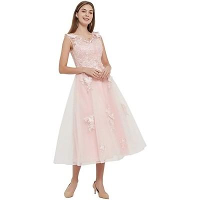 結婚式ドレス Vネック 演奏会用ドレス 花嫁ウェディングドレス カラードレス ステージドレス 声楽 コーラス 衣装(ピンク, M)