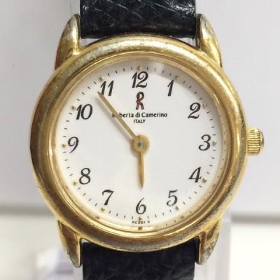 【中古】ロベルタディカメリーノ レディース腕時計 クオーツ SS/GP/レザー ゴールド[jggW]