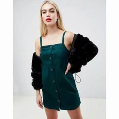 エイソス ワンピース denim cami dress with button front in dark green Khaki