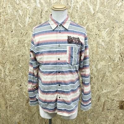 BODY GLOVE ボディグローブ L メンズ シャツ ドットボタン留め マルチボーダー柄 ロゴ刺繍 ポケット 長袖 綿100% ベージュ×赤系×紺など