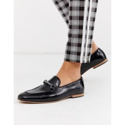 エイソス メンズ スリッポン・ローファー シューズ ASOS DESIGN loafers in black faux leather with snaffle Black