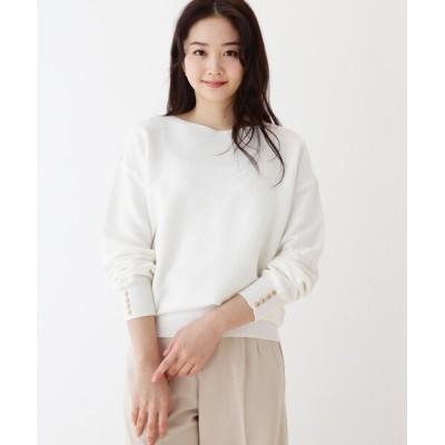 SHOO・LA・RUE / オーガニックコットンガーター編み袖ボタンニット WOMEN トップス > ニット/セーター
