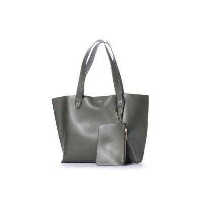クーコ COOCO ポーチ付リバーシブルトートバッグ【A4サイズ対応】 (カーキ)