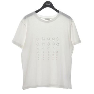 【7月19日値下】SAINT LAURENT PARIS 18AW ロゴスターTシャツ ホワイト サイズ:S (堀江店)