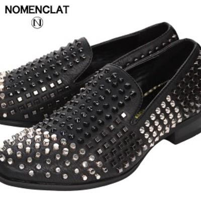 オペラシューズ スタッズ オペラパンプス シューズ 合皮 靴 くつ メンズ 紳士靴 ローファー(ブラック黒) nct1005