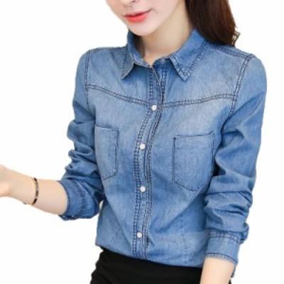 デニムシャツ ロングシャツ シャツチュニック 長袖 レディース トップス 3L 韓国 ファッション