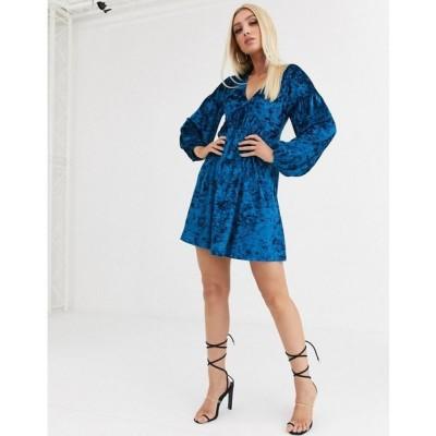 エイソス ASOS DESIGN レディース ワンピース ワンピース・ドレス long sleeve velvet smock dress