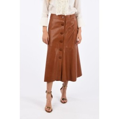 DROME/ドローメ Brown レディース Below Knee Leather Skirt with Buttons on Front dk