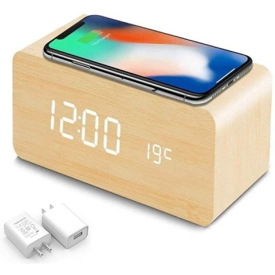 目覚まし時計 qi 置時計 時計 おしゃれ 卓上 時計 置時計 人気 目覚まし時計 光 ワイヤレス充電器 QI充電器ワイヤレス充電 QI無線充電機能