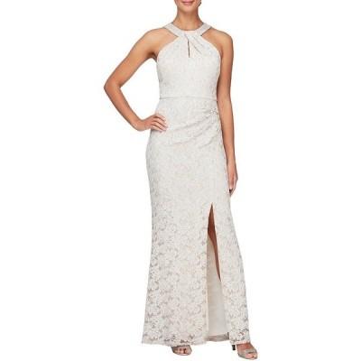 アレックスイブニングス レディース ワンピース トップス Sleeveless Embellished Stretch Lace Halter Gown Taupe