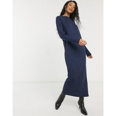 エイソス レディース ワンピース トップス ASOS DESIGN long sleeve maxi t-shirt dress in navy