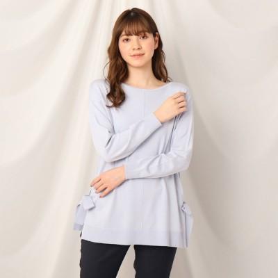 クチュール ブローチ Couture brooch シルク混サイドリボンチュニックニット (サックス)