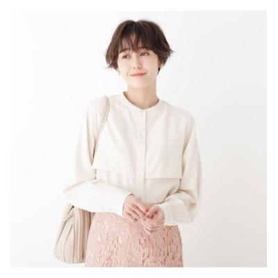 【AG バイアクアガール/AG by aquagirl】 スタンドカラーサテンシャツ