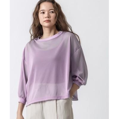 tシャツ Tシャツ 3/4ボリュームスリーブシアープルオーバー