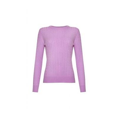 Ladies Cashmere Cable Round Neck, Sweater, Purple, L並行輸入品 送料無料