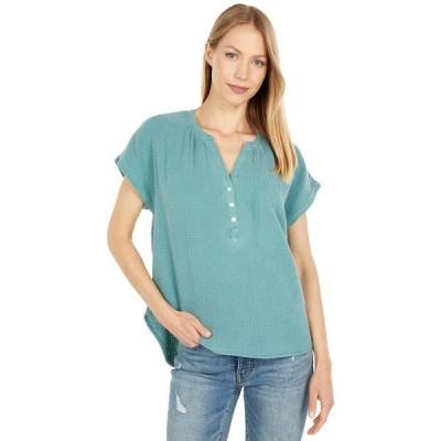 ラッキーブランド シャツ トップス レディース Short Sleeve Open Neck Shirt Sage Brush Green