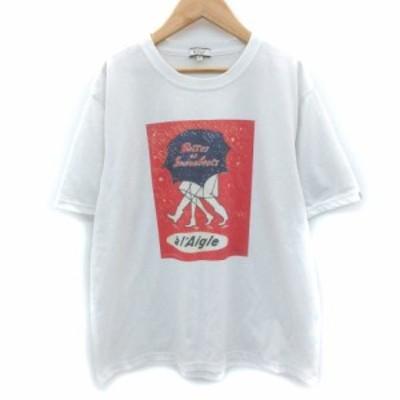 【中古】エーグル AIGLE Tシャツ カットソー 半袖 クルーネック プリント XL 大きいサイズ 白 ホワイト /SM13 メンズ