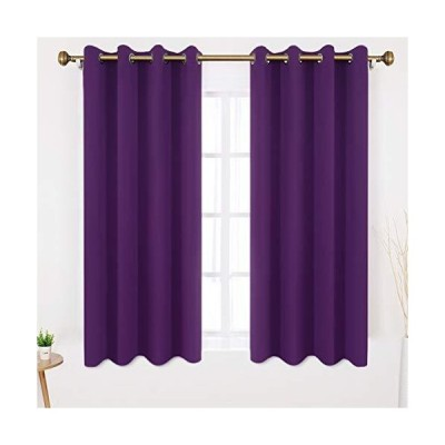 HOMEIDEAS Blackout Curtains 52 X 63 Inch Length Set of 2 Panels Purple Room Darkening Bedroom Curtains/Drapes, Thermal Grommet Light Blockin
