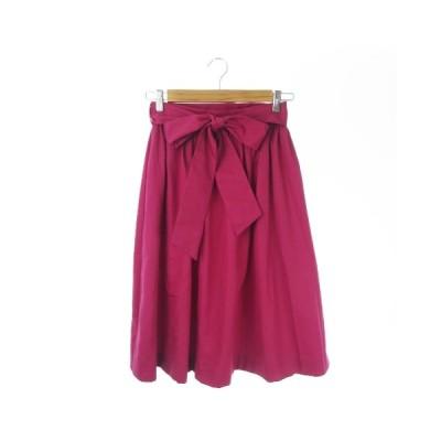 【中古】ティアラ Tiara スカート ギャザー フレア ロング ミモレ リボン 2 ピンク /AO15 ★ レディース 【ベクトル 古着】