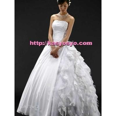 おしゃれなサイドフリルスタイルが魅力的 wd219C ヘッドコサージュ付き ウェディングドレス